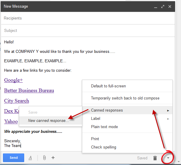 insert canned template in gmail